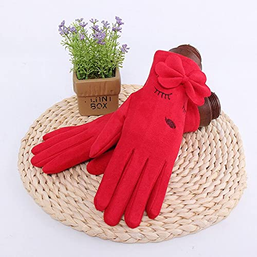 Winter Female Single Layer Warm Cashmere Full Finger Plum Pattern Mittens Women Suede Leather Touch Screen Driving Gloves - B16 Red,One Size