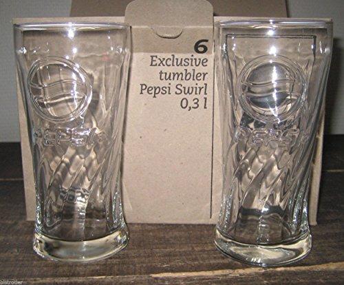 Pepsi-Cola Lot de 6 verres Motif logo Pepsi officiel 30 cl swirl neuf