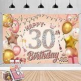 WIWJ 30 Decoración de Fiesta de Cumpleaños de Rosa, Extra Grande Póster de Tela Cartel para 30 Aniversario Feliz Cumpleaños Pancarta de Fondo Materiales de Fiesta de Cumpleaños