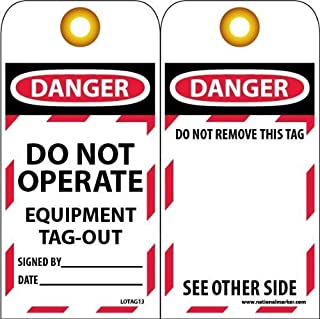 5.75 Length x 3.25 Width x 0.015 Thickness LegendDanger DO NOT Operate Equipment Lock Pack of 5 Accuform TSP105PTM RP-Plastic Bilingual Lockout Tag Red//Black on White