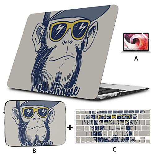 Mac Book Pro Cases Cool Monkey Chimpanzee King of Forest Animal MacBook Pro 15 Cover Hard Shell Mac Air 11'/13' Pro 13'/15'/16' with Notebook Sleeve Bag for MacBook 2008-2020 Version