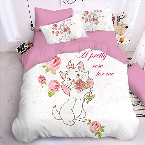 KYNWCLRW Double Cotton Duvet Covers Set, 3D Digital Print Marie Cat Duvets Cover, Upgrade Polyester-Cotton Trendyquilt Cover Sets, For Teen (200X200Cm)