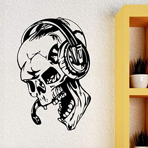 Adhesivos de pared, Gamer Adhesivos de pared Cráneo Música Auriculares Calcomanía de pared Estilo de videojuego Hogar Niños Habitación Decoración Extraíble Gamer Wallpaper 28X42Cm
