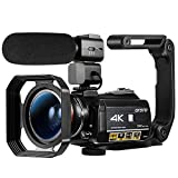 Ordro AC3 Video Camera 4k Camcorder WiFi Ultra HD Vlog Camera 3.1'' IPS Screen Digital Zoom 1080P 60fps Night Vision with Microphone,Wide Angle Lens, 2 Batteries,Handle