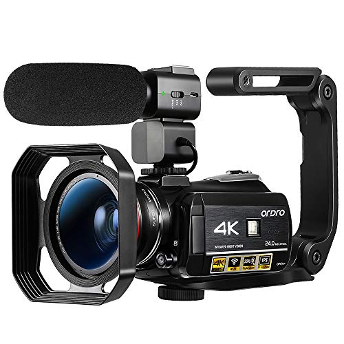 """Ordro AC3 4K Camcorder Ultra HD Video Camera 30X Digital Zoom,1080P 60FPS,3.1""""IPS Touch Screen,IR Night Vision,APP Connection for YouTube Vlogging with Microphone,Wide Angle Lens, Lens Hood,Stabilizer"""