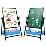 Kids Art Easel Double Sided Whiteboard & Chalkboard 26inch-43inch Height Adjustable & 360°Rotating Easel Stand with Bonus Magnetic Letters and Numbers