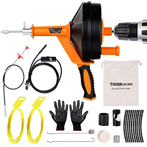 THINKWORK 25 Ft with Endoscope Plumbing Snake Sink Drain Auger,Professional Sink Snake Hair Clog Remover Heavy Duty Pipe Snake for Kitchen and Shower, Comes with Gloves, Magnets.