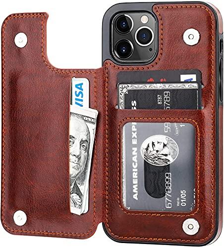 CPBY Cáscara Protectora de la Cartera de iPhone 12 Pro Compatible con el Soporte de la Tarjeta, Caja Protectora de la Ranura del Soporte de Cuero PU, 6,1 Pulgadas (Negro), Brown