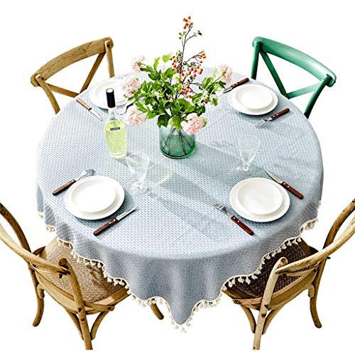 Maison Minimaliste Moderne Grande Table Ronde Coton Lin Petit Tissu Frais Nappe De Couleur Unie Ronde Table Basse Tissu Tissu Tissu Bleu (taille : Diameter 160cm)