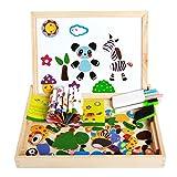 Beetest Puzzles Rompecabezas Magnéticos Juego Tablero de Dibujo Conjunto Doble Cara Desarrollo de Madera Juguetes educativos Regalo para niños de 3 años