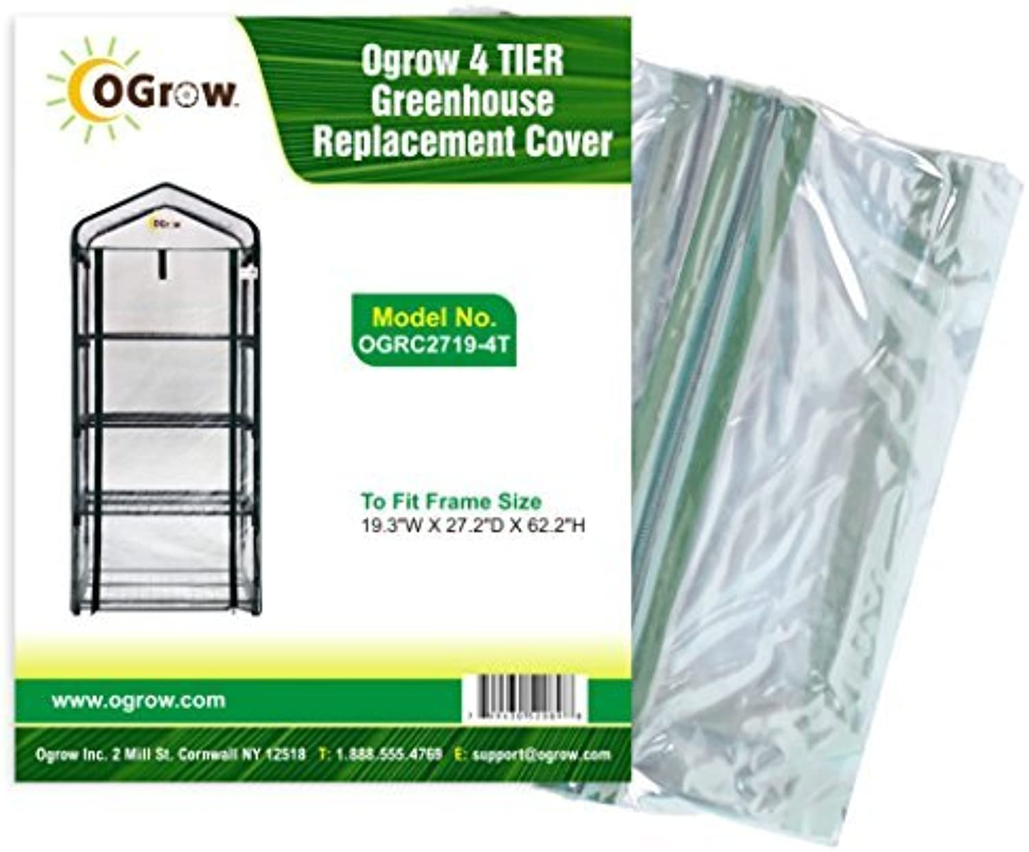 OGrow 19.3 x 27.2 x 62.2-Inch 4-Tier Grünhouse Replacement Cover by OGrow