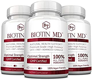 Biotin MD – Extra Strength Pure Biotin 10,000mcg for Improved Hair, Skin and Nail Health; 180 Vegan Tablets; Made in USA