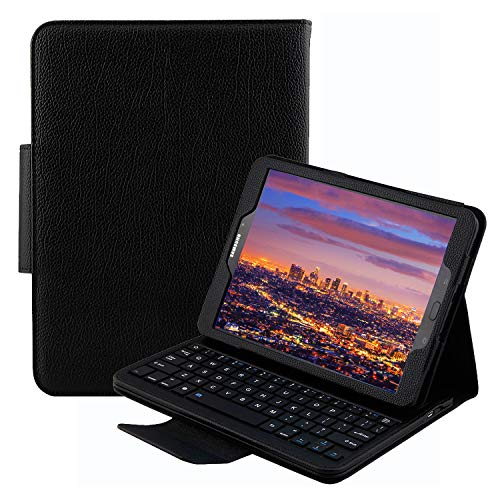 Keyboard Case for Samsung Galaxy Tab S3 9.7 (SM-T820 / T825 / T827), YMH Detachable Magnetic Removable Wireless Bluetooth Smart Keyboard Cover Protective Stand Book Folio Slim Fit PU Leather (Black)