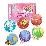 Panspace Bombe da bagno, 6 bomba da bagno bambini con sorpresa all'interno, bombe da bagno Fizzies da spa fatte a mano per ragazze con gioielli unicorno