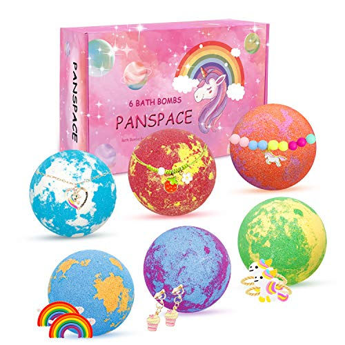 Panspace Bath Bombs Gift Set for Kids, 6 Natural Kids Bath Bombs with Surprise Toy Inside, Handmade Spa Fizzies Bath Bombs for Girls with Unicorn Jewellery, Birthday Christmas Gifts for Kids Girls