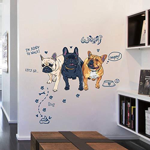 VCTQR Muursticker drie honden te voet tot een poe kruk wandsticker decoratie slaapkamer woonkamer DIY afneembare dier verwijderbare stickers