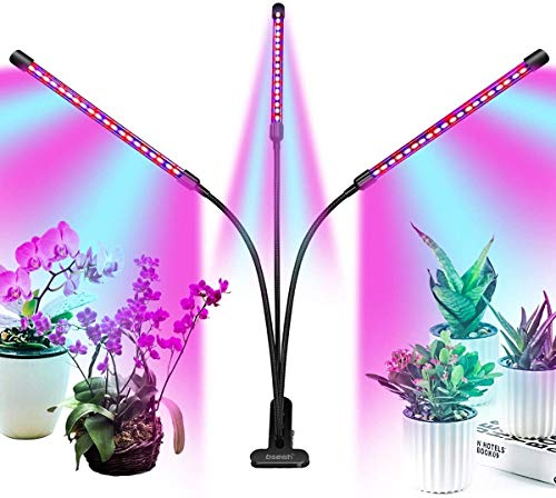 Grow Light Plant Lights for Indoor Plants, Clip-On Full Spectrum Led Plant Grow Lights for Seed Starting, Auto ON & Off with 3/9/12H Timer, 9 Dimmable Lightness (with AC Adapter).