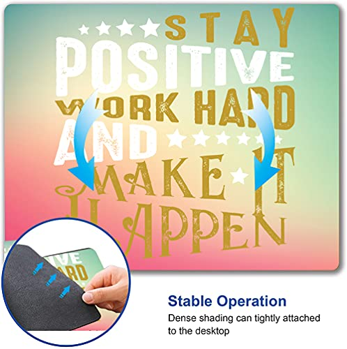Inspirational Quotes Mouse Pad, Motivational Quotes On Pink Green Background Mouse Mat, Square Waterproof Mouse Pad Non-Slip Rubber Base MousePads for Office Home Laptop Travel, Work Hard Photo #6