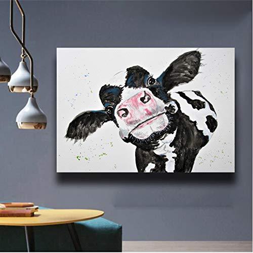 YHZSML Aquarell Blau Kuh Wandkunst Leinwand Malerei Für Wohnzimmer Druckplakat Moderne Tierbilder Dekoration Bilder 4 50x70 cm
