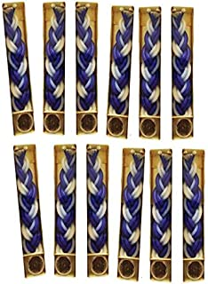 12 Havdalah Sets of Braided Blue and White Candles with a Small Container of Besomim