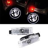 Nanyu Proiettore per Auto 2pcs, Luce del proiettore LED Shadow Light Benvenuto, Ghost Shadow Logo Logo, Logo HD Light Light, per Luce Alfa Etichetta,Black And White