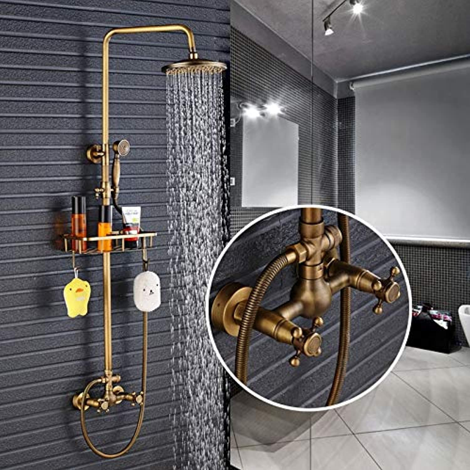 Antique Brass Shower Faucet 8-inch Hand-held Shower Head Wall-Mounted Faucet Mixer