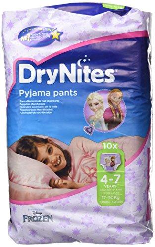 Huggies DryNites, culottes d'apprentissage pour la nuit Fille 4 – 7 ans (17 – 30 kg) -3 boîtes d 10 Culotte chacune, modèles assortis