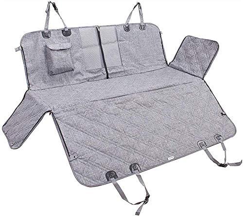 CJCJ-LOVE Funda para asiento trasero de coche para perro, hamaca con ventana de malla, bolsa de almacenamiento y solapas laterales