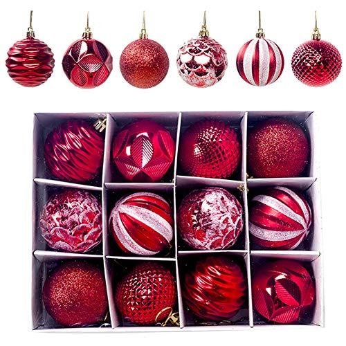 Christmas Baubles 60mm Christmas Tree Decoration Ornaments Pendants 12pcs Shatterproof Balls Large Hanging Ball for Xmas Hanging Decorations Festival Holiday Wedding Party Decoration