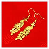 LPZW Nuevo Conjunto de Joyas de Matrimonio Jinlong Phoenix Set de Boda Cadena Dragón Phenix Pulsera Phoenix Ear Hang Gluon Anillo Anillo Anillo Cadena Dedo (Color : D)