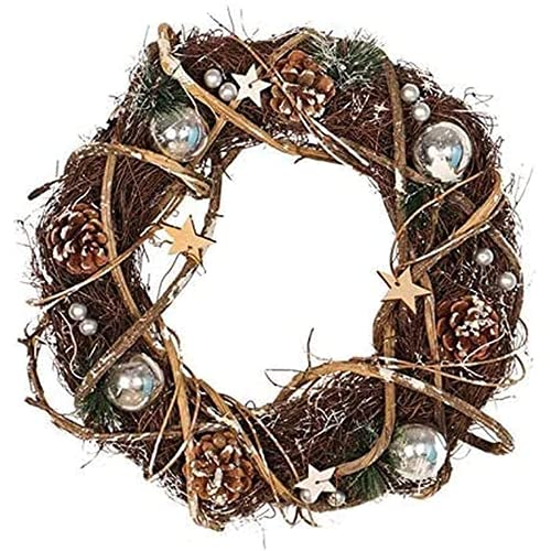Mauvmr Estrellas esféricas Vine, Guirnalda Tejida de Rota Natural, artesanía de Guirnalda, decoración navideña Guirnalda de la Boda