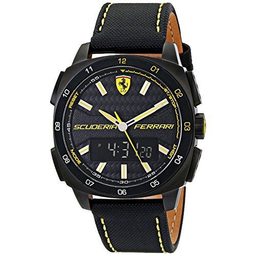 Orologio analogico e digitale al quarzo con cinturino di nylon nero e pelle, Scuderia Ferrari 0830170