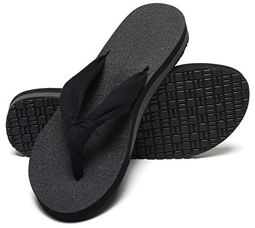 MAIITRIP Womens Flip Flops Summer All Black Ladies Thong Sandals Comfortable Best Durable Yoga Mat Footbed Flipflops with Soft Cushion Arch Support Cloth Stap Size 8.5
