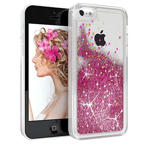 EAZY CASE Hülle kompatibel mit Apple iPhone 5C Schutzhülle mit Flüssig-Glitzer Handyhülle, Schutzhülle, Back Cover mit Glitter Flüssigkeit, aus TPU/Silikon, Transparent/Durchsichtig, Pink