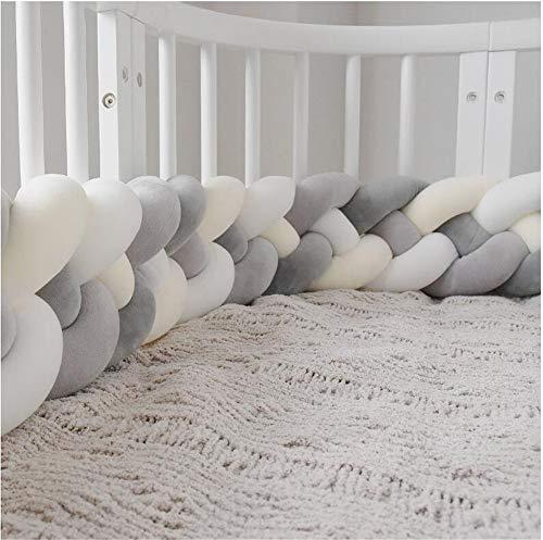 CULASIGN Bettumrandung, 220cm Baby 4 Weben Nestchen Bettumrandung Kantenschutz Kopfschutz Geflochtene Stoßfänger Dekoration für Krippe Kinderbett (Beige+Weiß+Grau+Dunkelgrau)