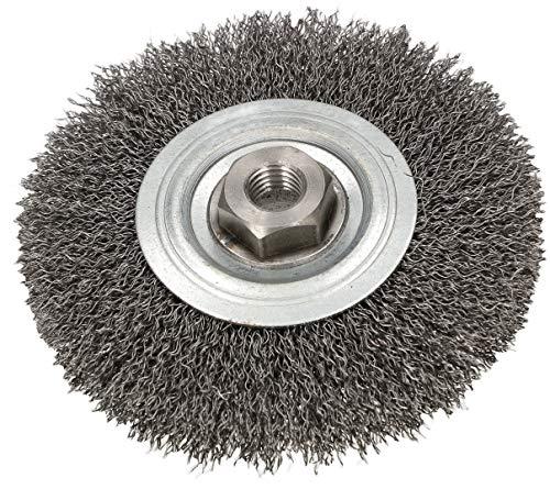 KOTARBAU® Cepillo de disco de 120 mm con rosca M14, alambre de acero ondulado para amoladora angular