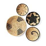 Artera Wicker Wall Basket Decor- Set of 4 Oversized, Hanging Natural Woven Seagrass Flat Baskets, Round Boho Wall Basket Decor for Living Room or Bedroom, Unique Wall Art. (Natural)