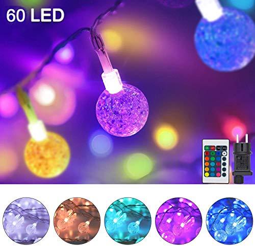 60er LED Lichterkette Außen Strom, Bunt Lichterkette Kristall Kugeln mit Fernbedienung, 10M Wasserfest Außenlichterkette Farbwechsel Deko für Garten, Balkon, Kinderzimmer, Schlafzimmer(16 Farben)