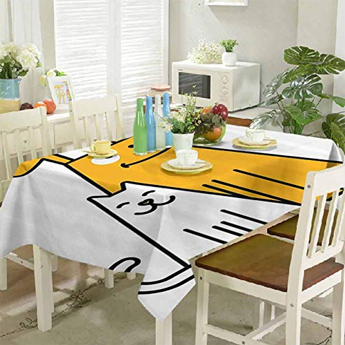 DRAGON VINES Tablecloths for Rectangle Tables Cats and Dogs Human Best Friends Forever Kids Nursery Room Art Print Kitchen Home Decor Picnic Tablecloth Clips Camping 52 x 70 inch