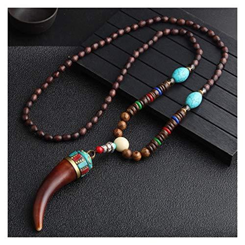 Earthily Holzkette, Handgefertigt Nepal Halskette Buddhistische Holzperlen Anhänger Halskette Ethnische Horn Fish Long Statement Schmuck Frauen Männer (Color : D)