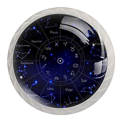 Pomos de Blanco Cristal 12 Constelaciones Astrolabio Azul RedondoTiradores de Muebles 4 Piezas 35mm Hecho a Mano Pomos para Alacena Baño Cocina Gabinetes Pomos Para Armarios Infantiles