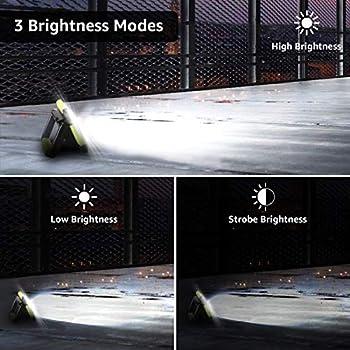 LE Lighting EVER Projecteur LED Portable 10W 1000LM, Projecteur LED Rechargeable avec Batterie 4400mAh, 3 Modes Luminosité, Résistant pour Camping, Bricolage, Chantier etc, Blanc Froid