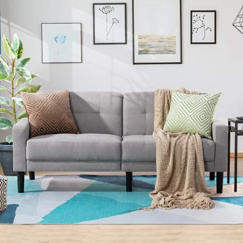 Vongarsig 63'' Small Modern Loveseat Couch, Mid-Century Upholstered Fabric 2-Seat Sofa Couch Tufted Love Seat for Living Room, Bedroom, Office, Apartment, Dorm, Studio and Small Space (Light Gray)