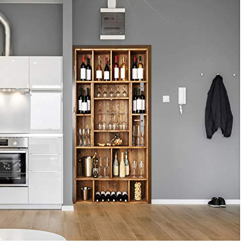 Estante para botellas de vino, papel tapiz 3D para puertas, pegatinas autoadhesivas para puertas para la renovación de puertas de madera, calcomanía artística para el hogar