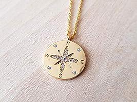 Colgante rosa de los vientos - diamantes de imitación de puntos cardinales dorados con oro fino