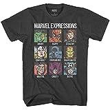 Avengers Expression Moods Spider-Man Hulk Thor Iron Man Black Panther Strange America Mens Adult Graphic Tee T-Shirt (Heather Charcoal, X-Large)