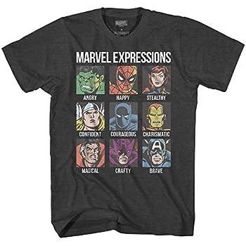 Avengers Expression Moods Spider-Man Hulk Thor Iron Man Black Panther Strange America Mens Adult Graphic Tee T-Shirt  Black Heather XXX-Large