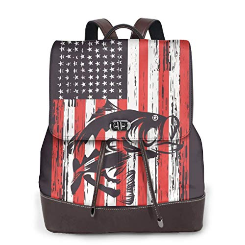 American Flag with Bass Fishing Women Fashion Genuine Leather Backpack Girls Travel School Mini Shoulder Bag, Weiß - Amerikanische Flagge mit Barsch Angeln - Größe: Einheitsgröße
