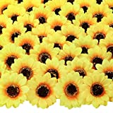 CEWOR 150pcs 3 Inches Artificial Sunflower Heads Silk Sunflower Fake Fabric Flowers for Wedding Decoration Bridal Bouquet DIY Crafts