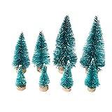 Cusfull 26 x Mini Weihnachtsbaum Tannenbaum mit Unterlage Christbaum Kiefern Glitzer Dekoration Weihnachten Ornamente Tischdeko Kinder Bastelarbeit DIY - 2